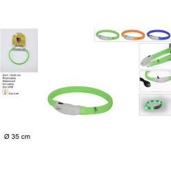 GROSSISTA COLLARE CANI 35CM LUMIN. LED RICARIC.USB