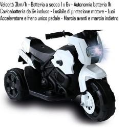 MOTO MOTARD 6V B. VEL. 3 KM/H AUT.1H +3A 69X32X45CM - UNICO PEDALE MARCIA AV./IND