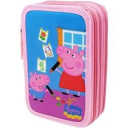 GROSSISTA ASTUCCIO TRIPLO PEPPA PIG ROSA 24+12