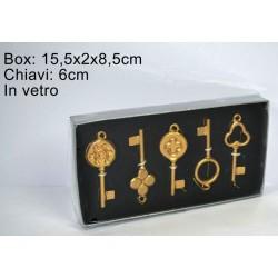 GROSSISTA BOX 5 CHIAVI VETRO cm.6 ORO