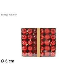 PALLE 6CM 30PZ C/RILIEVO GLIT OPACHE TRASP. ROSSO BOX ASS