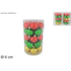 PALLE 6CM 25PZ LUCIDO VERDE/ROSSO/ORO AS