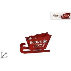GROSSISTA SLITTA LEGNO BUONE FESTE 20CM 2 COL. ART .BMS-84