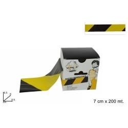 GROSSISTA NASTRO SEGNALETICO GIALLO/NERO H 7CMX 20 0MTL CON