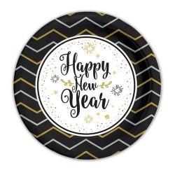 GROSSISTA PIATTI CM.18 PZ.8 HAPPYN NEW YEAR